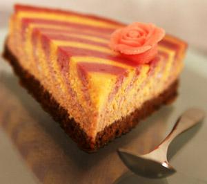 Cheesecake marbré abricot-framboise à la faisselle